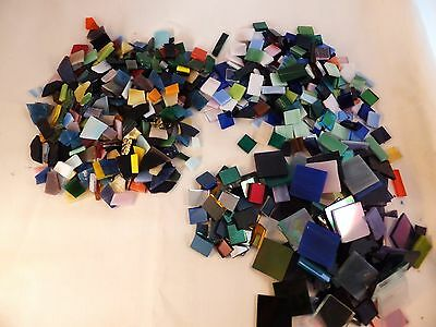 Mixed lot of hand cut glass mosaic tiles  stained glass mixed colors lot A