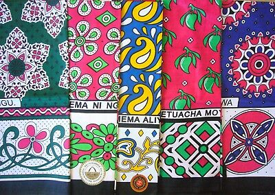 African Kanga Khanga Sarong Pareo Throw Wrap Green Blue Pink Bright - Beach Home