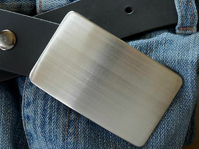 Brushed Stainless Hypoallergenic Buckle & Leather Custom Cut 1-1/2 Leather Belt