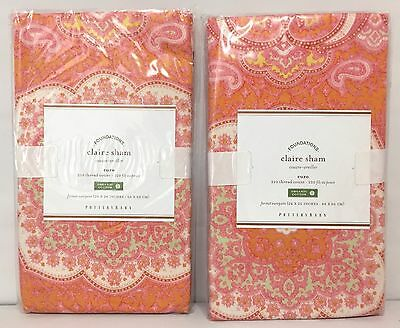 POTTERY BARN Claire Scarf EURO Shams, SET OF 2, NEW