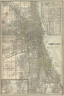 Chicago Illinois Street Map: Authentic 1899; shows Landmarks, Stations, More