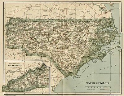 NORTH CAROLINA Map: Dated 1891 with Towns, Counties, Railroads: 1890 Populations