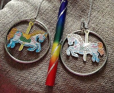 Rainbow 3 x Carousel Horse Loop Metal Wind Chime 42cm Long Childrens