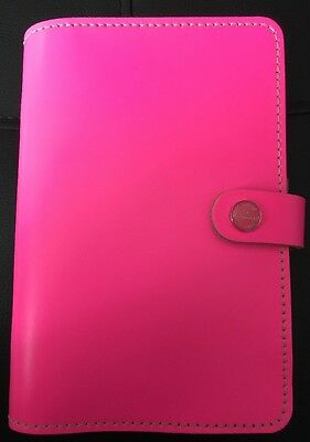Filofax The Original Personal Organiser Fluro Pink Leather With 2 Card Slots