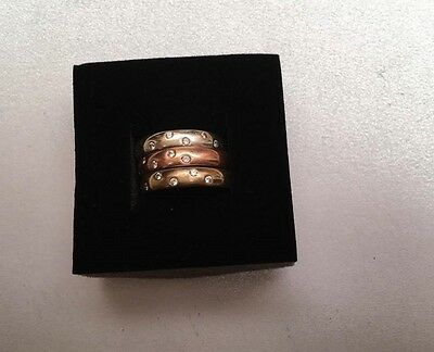 9CT GOLD 3 x Stacking Rings Wedding Band Rings SIZE M