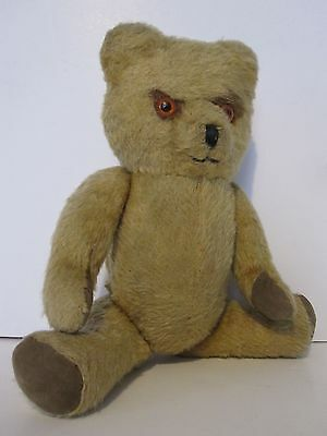 "Unusual vintage 12 ½"" Teddy Bear Mr Grumpy with Flat fixed head & jointed limbs"