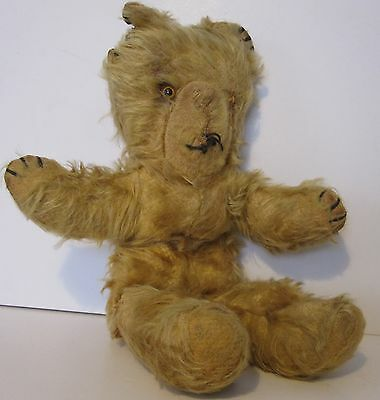 "Old & sad 15"" Teddy bear, very shaggy fur, one eye, dog eared! arms up unjointed"