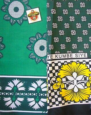 African Kanga Khanga Sarong Pareo Throw Wrap Green Black - Beach Swimwear Home