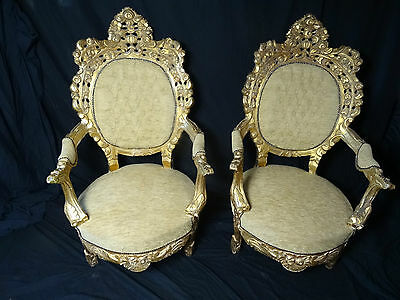 Pair Vintage Gold Throne French Louis XVI Style Carved Gilt High Back Armchairs