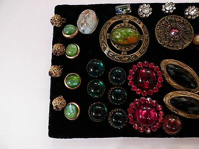 Collection of antique & vintage coloured glass buttons, Three Gay Nineties 1890-