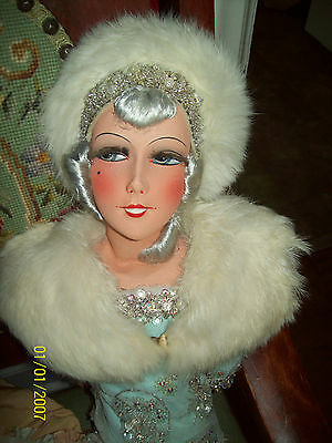 Smiling French Boudoir Doll, REAL Fur Hat and Shawl, Gorgeous Beaded Dress