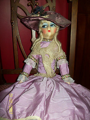 Gorgeous Antique French Boudoir Doll, Lavender Dress, Silk Ribbons, Velvet Hat
