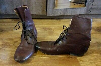 mens real leather boots size 8 brown red lace up smart