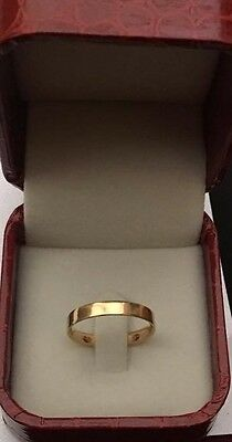 Solid 18ct Yellow Gold Thick Wedding Band Ring UK Size M