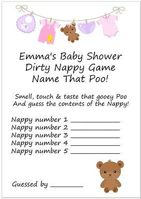 10 Personalised Dirty Nappy Game Cards & Free Certificate/Pink/Girl/Baby Shower