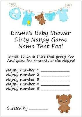 10 Personalised Dirty Nappy Game Cards & Free Certificate/Baby Shower/Blue/Boy