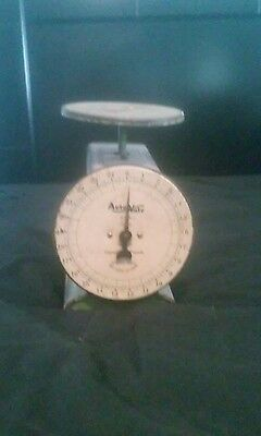 Vintage AUTO-WATE Antique Sage Green KITCHEN SCALE, 25-lb Capacity