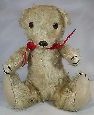 "VINTAGE 1930s 11"" MERRYTHOUGHT MOHAIR BINGIE TEDDY BEAR WITH BUTTON IN EAR"