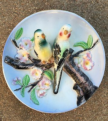 Cute Vintage Japanese House Wall Pocket With Budgerigars