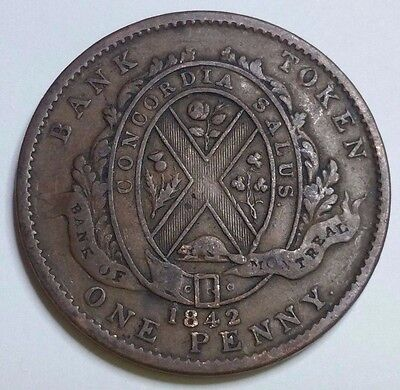 1842 Lower Canada One Penny Token Bank Of Montreal