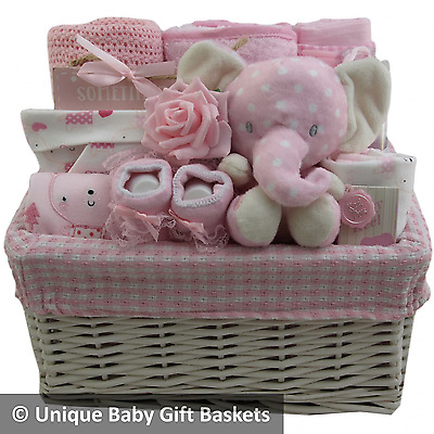 Baby gift basket packed case girl 4 pce clothes set/keepsake baby shower unique