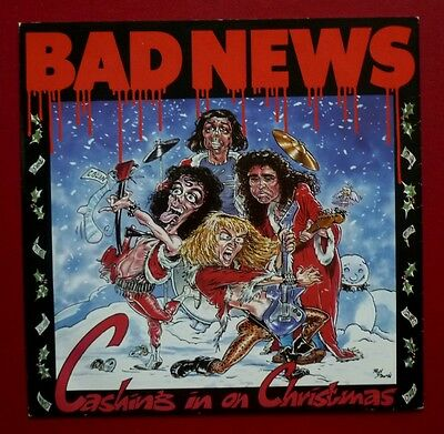 """BAD NEWS - Cashing In On Christmas (1987 3 tk 12"""" in PS) Comic Strip, Young Ones"""