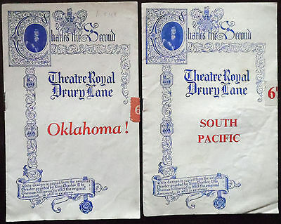 Theatre Royal Drury Lane  Programmes x 2 South Pacific & Oklahoma 1950s
