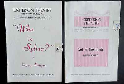 Criterion Theatre Programmes x 2,Who is Sylvia? 1950, Not in the Book,1958