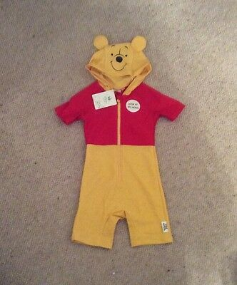 Baby Boys Disney Winnie The Pooh Hooded All In One Swimsuit 18-24 Mths BNWT