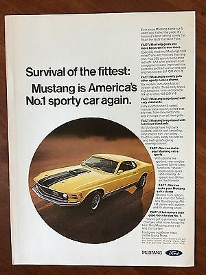 Vintage 1970 Original Print Ad Yellow Ford MUSTANG ~Survival of the Fittest~