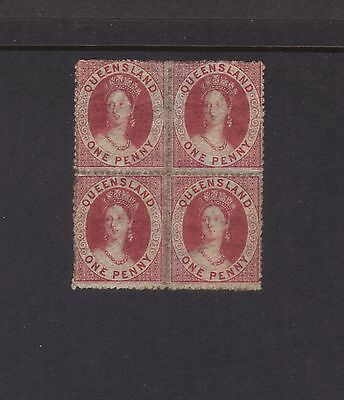 Queensland Sg14;1d Red Block 4,Rough Perf 14-16 Wmk Small Star MLH.**RARE**