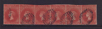 SA Sg 8; 2d Blood Red Chalon Imperf Strip of 6,Superb VFU.**VERY RARE**
