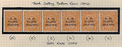 NWPI; 4d KGV 3rd Setting acccbc strip Mint.**RARE**