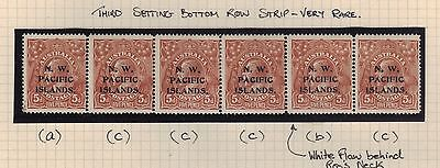 NWPI; 5d KGV 3rd Setting acccbc strip Mint.**RARE**