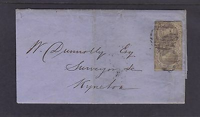 VICTORIA; 1859 2d Emblems Imperf Pair on cover.