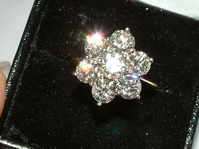 Diamond Ring- 18Ct Gold 7 Stone Diamond Flower Cluster Ring 3.88 Carats