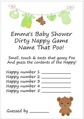 10 Personalised Dirty Nappy Game Cards & Free Certificate/Baby Shower/Unisex