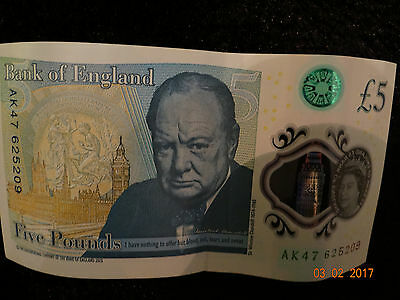 AK47 serial number  Five Pound Note GBP sterling (MINT CONDITION)
