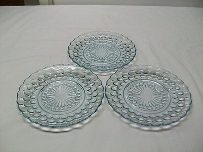 "Vintage Anchor Hocking Sapphire Blue Bubble Pattern 6 3/4""  Bread Plates - 3"