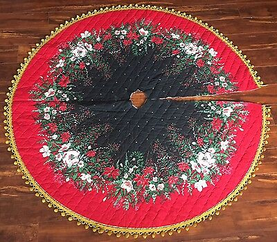 "Vintage CHRISTMAS TREE SKIRT POINSETTIA 56"" 56 Inch Handmade- Fast Shipping"