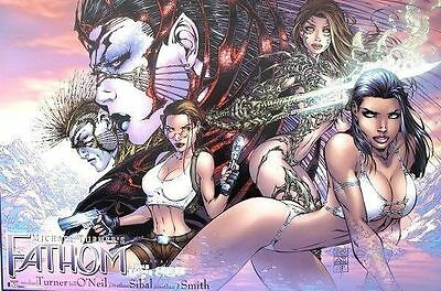 Fathom Witchblade Tomb Raider Crossover Poster #1 ~ Michael Turner  Oop 2000 New