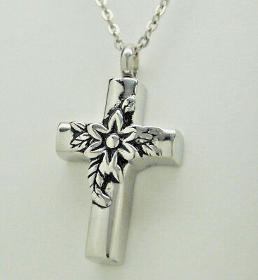 Cross Cremation Jewelry Silver Flower Cremation Urn Necklace Memorial Keepsake