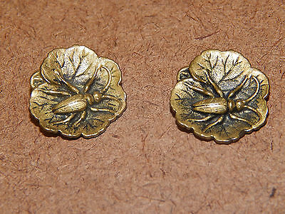 """2 Matching Antique Brass """"beetle on Leaf"""" Buttons"""