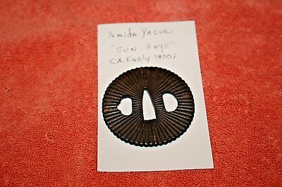 Early 1800's Amida Yasuri Sun Rays Tsuba Hand Guard for Samurai Sword