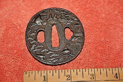 19th century or Earlier Town or Temple Tsuba Hand Guard for Samurai Sword