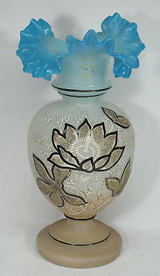Vintage Bristol Glass Vase Enamel Painted Ruffled Edge Top