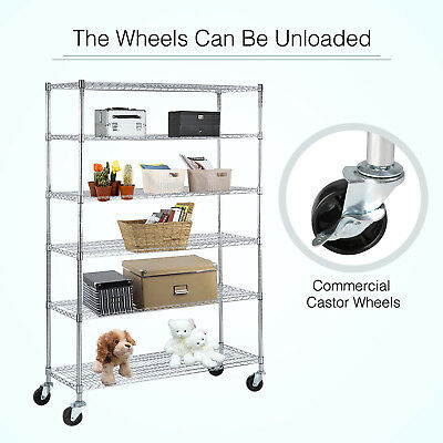 "6 Tier Storage Rack Wire Shelving Steel Shelf Adjustable Layer 82""x48""x18"""