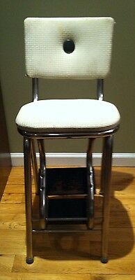 Vintage BROOKLYN 1930's Flip Up STEP STOOL SEAT Chrome CHAIR BOOSTER LADDER