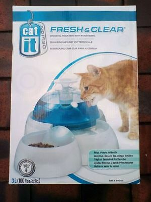 Cat It Pet Drinking Water Fountain with Food Bowl Cats Kittens Small Dogs NEW