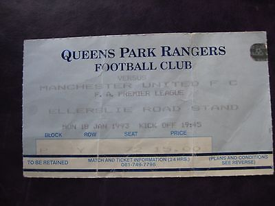 Queens Park Rangers V Manchester United  18/01/93  Used Ticket Stub
